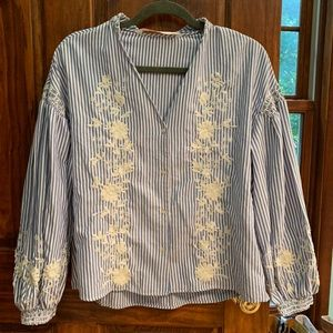 Zara Blue And White Striped Blouse Size XS